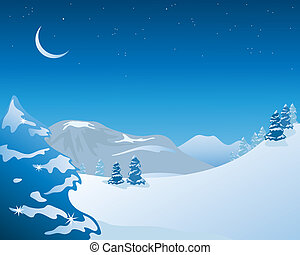 winter scenery - an illustration of a night time snowy...