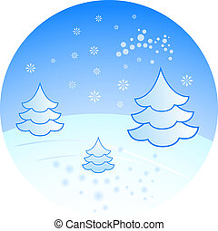 Winter scenery with fir trees vector illustration.
