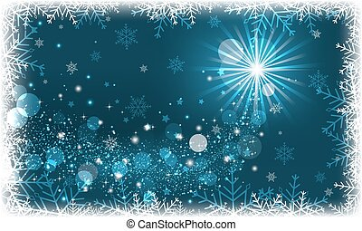 Winter scenery with snowflakes and glitter. - Winter scenery...