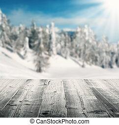 Winter scenery with wooden planks - Snowy winter landscape...