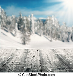 Winter scenery with wooden planks - Snowy winter landscape...