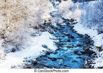 Winter Scenes River in Austria