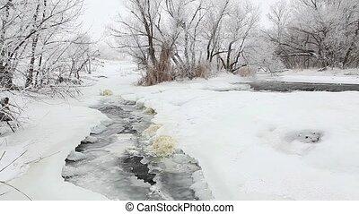Winter scenic of the River Krynka, Donetsk region, Ukraine. Full HD