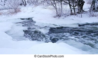Winter scenic of the River Krynka,