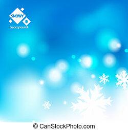 winter, schnee, blaues, weihnachten, hintergrund