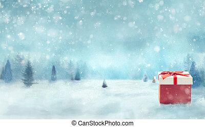 winter, schneebedeckte bäume, mit, geschenk