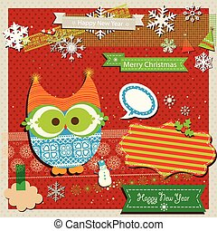 winter scrapbook template with cute owl