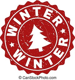 WINTER Scratched Stamp Seal with Fir-Tree