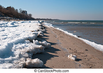 Winter sea beach