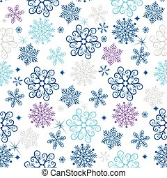 Winter seamless christmas pattern with colorful snowflakes
