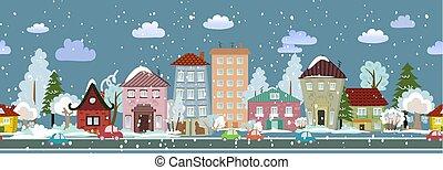 winter, seamless, ontwerp, cityscape, jouw, vrolijke