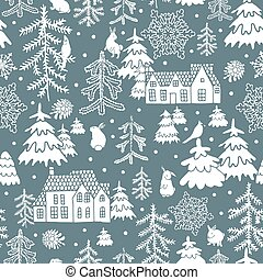 Winter seamless pattern - seamless pattern with houses and ...