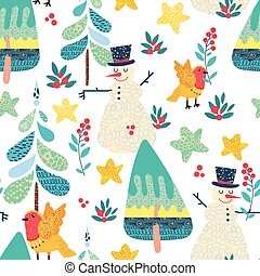 Winter seamless pattern with a Christmas forest. - Winter...