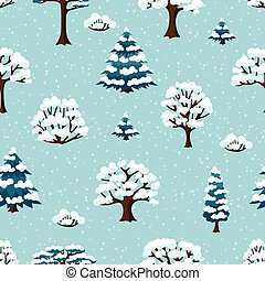 Winter seamless pattern with abstract stylized trees