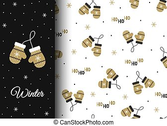 Winter seamless pattern with cozy warm mittens. Wintertime vector illustration. Christmas design for cards, backgrounds, fabric, wrapping paper.