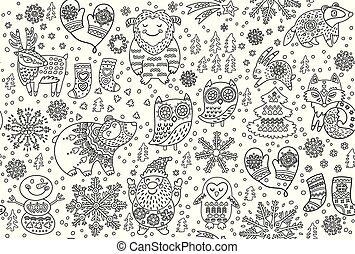 Winter seamless pattern with decorative fancy animals in the snow. Contour vector illustration ideal for coloring print