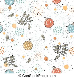 Winter Seamless Pattern with festive ornaments on subtle background and rowan leaves.