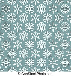 Winter seamless pattern with white snowflakes on blue background.