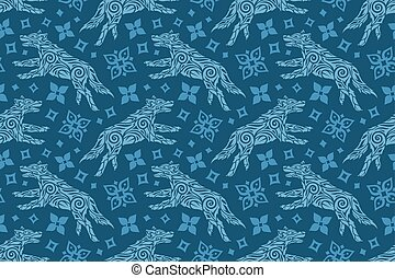 Winter seamless pattern with wolf and snow