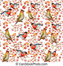 winter seamless texture with cute birds watercolor