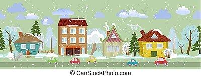 winter, seamless, zich verbeelden, ontwerp, cityscape, jouw
