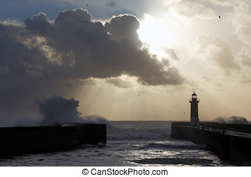Winter seascape at sunset - Seascape with strong waves...