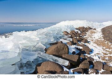 Winter seascape with hummocks along the Dutch coast