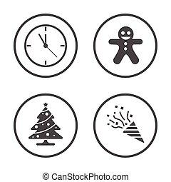 Winter season and Christmas New Year icons set