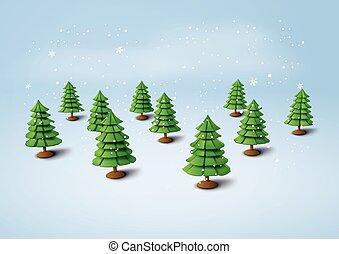 Christmas tree with snow.