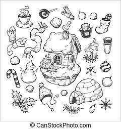 Winter Season. - Big winter collection. Christmas set, ...
