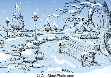 Winter Season - illustration of view of winter season in...