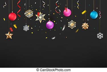 Winter season holidays background with accessories on rope