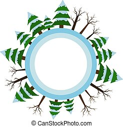 Winter season icon. Vector illustrations. Tree and fir-tree of winter. For banners and printing