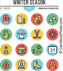 Winter season icons. Modern thin line icons set. Premium quality. Outline symbols, graphic elements, concept, flat line icons. Creative vector illustration