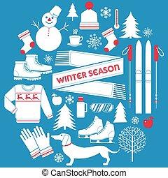 Winter Season Icons Set in Retro Style - in vector
