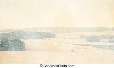 winter season plain field snowfall - plain field and meadows...