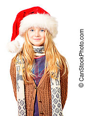 winter season - Portrait of a cute ten years girl in red...