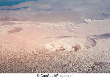 Winter season snow covered aerial view, Iceland