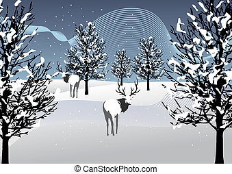 Winter Season - Winter with snow and deers.