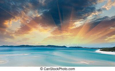 winter, seizoen, kleuren, prachtig, whitsunday, eilanden, australia.