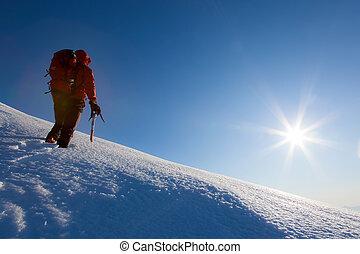 winter, seizoen, sky., duidelijk, glacier., wandelingen, klimmer