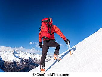 winter, seizoen, slope., duidelijk, besneeuwd, op, wandelingen, sky., klimmer