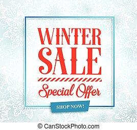 winter, seizoen, typografie, verkoop, vector, ontwerp, tekst, bevordering, spandoek