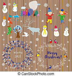 Winter set for Christmas and holidays. Funny icons and frames vector illustration
