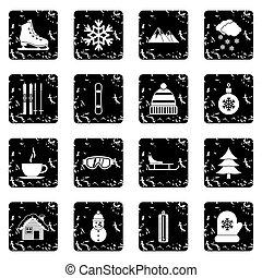 Winter set icons, grunge style