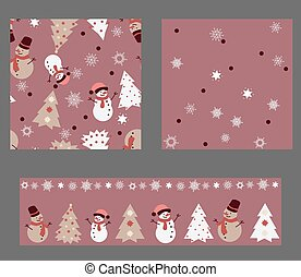 Winter Set of 3 Seamless Patterns in Pastel Colors