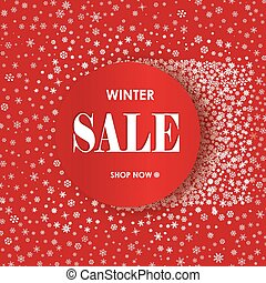 Winter shopping sale banner with lettering. Snow frame background. Holiday sale with snowflakes over red festive background