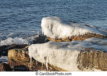 Winter shore of the Caspian Sea.