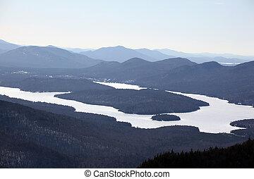 Winter shot of the fingerlakes at lake placid taken from Whiteface mountain