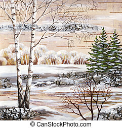 Winter Siberian landscape - Picture, winter natural...